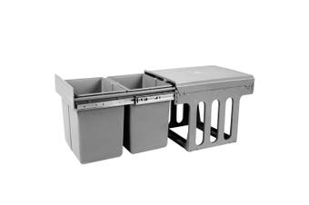 Devanti Pull Out Bin 2x 15L Dual Twin Bins Kitchen Grey Pantry Base Or Door Mount Rubbish Concealed In Cabinet Garbage