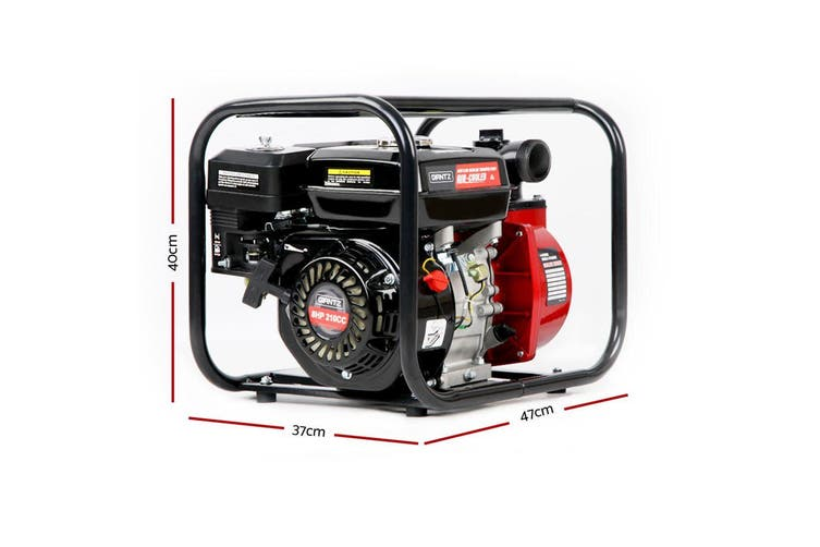 Giantz 2 Inch 210cc High Flow Water Pump Black and Red Garden Irrigation Petrol Fire Fighting Protection