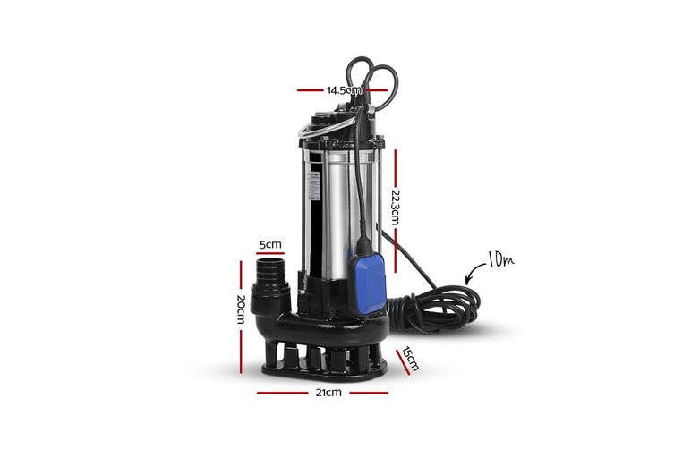 Giantz 2.7HP 20000W Submersible Dirty Water Pump Bore Sewage Septic Tank Well Sewerage