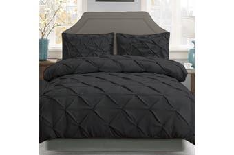 Giselle Bedding Queen Quilt Cover Set Diamond Black Microfibre Doona Duvet Bed Sets Hotel