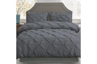 Giselle Bedding King Quilt Cover Set Diamond Charcoal Microfibre Doona Duvet Bed Sets Hotel