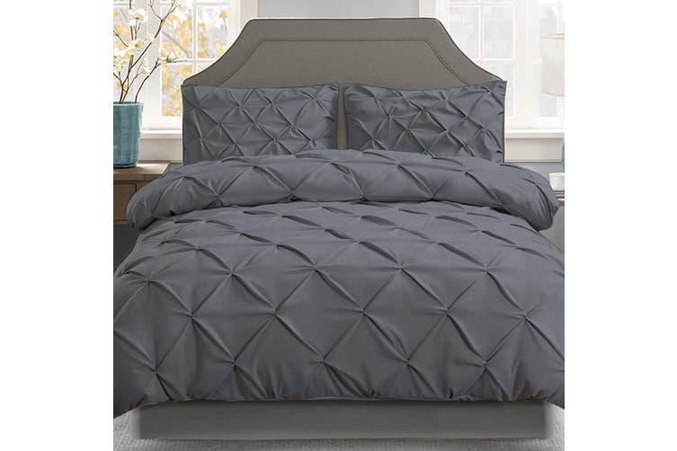 Giselle Bedding Queen Quilt Cover Set Diamond Charcoal Microfibre Doona Duvet Bed Sets Hotel