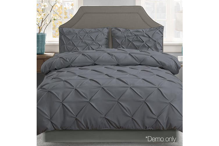 Giselle Bedding Super King Quilt Cover Set Diamond Charcoal Microfibre Doona Duvet Bed Sets Hotel