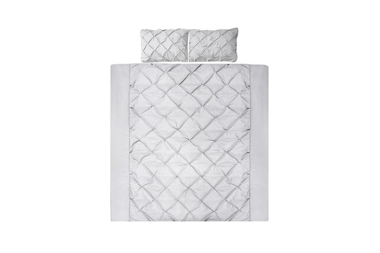 Giselle Bedding King Quilt Cover Set Diamond Grey Microfibre Doona Duvet Bed Sets Hotel