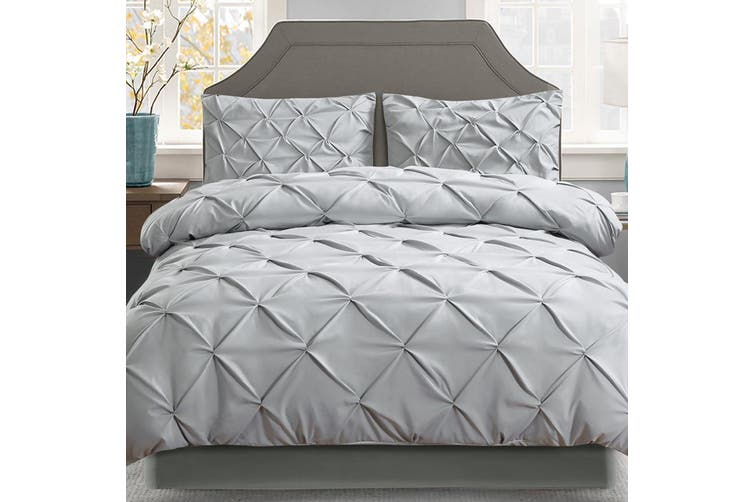 Giselle Bedding Queen Quilt Cover Set Diamond Grey Microfibre Doona Duvet Bed Sets Hotel
