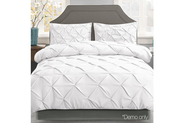 Giselle Bedding Queen Quilt Cover Set Diamond White Microfibre Doona Duvet Bed Sets Hotel