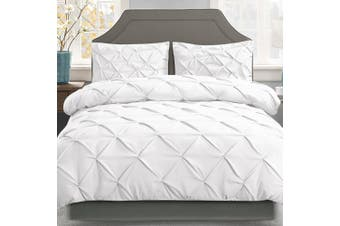 Giselle Bedding Super King Quilt Cover Set Diamond White Microfibre Doona Duvet Bed Sets Hotel