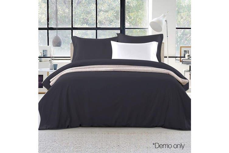 Giselle Bedding Queen Quilt Cover Set Black Luxury Classic Premium Microfibre Doona Duvet Bed Sets Hotel