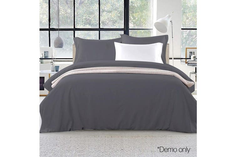 Giselle Bedding King Quilt Cover Set Charcoal Luxury Classic Premium Microfibre Doona Duvet Bed Sets Hotel