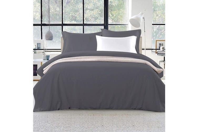 Giselle Bedding Queen Quilt Cover Set Charcoal Luxury Classic Premium Microfibre Doona Duvet Bed Sets Hotel