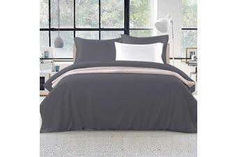 Giselle Bedding Super King Quilt Cover Set Charcoal Luxury Classic Premium Microfibre Doona Duvet Bed Sets Hotel