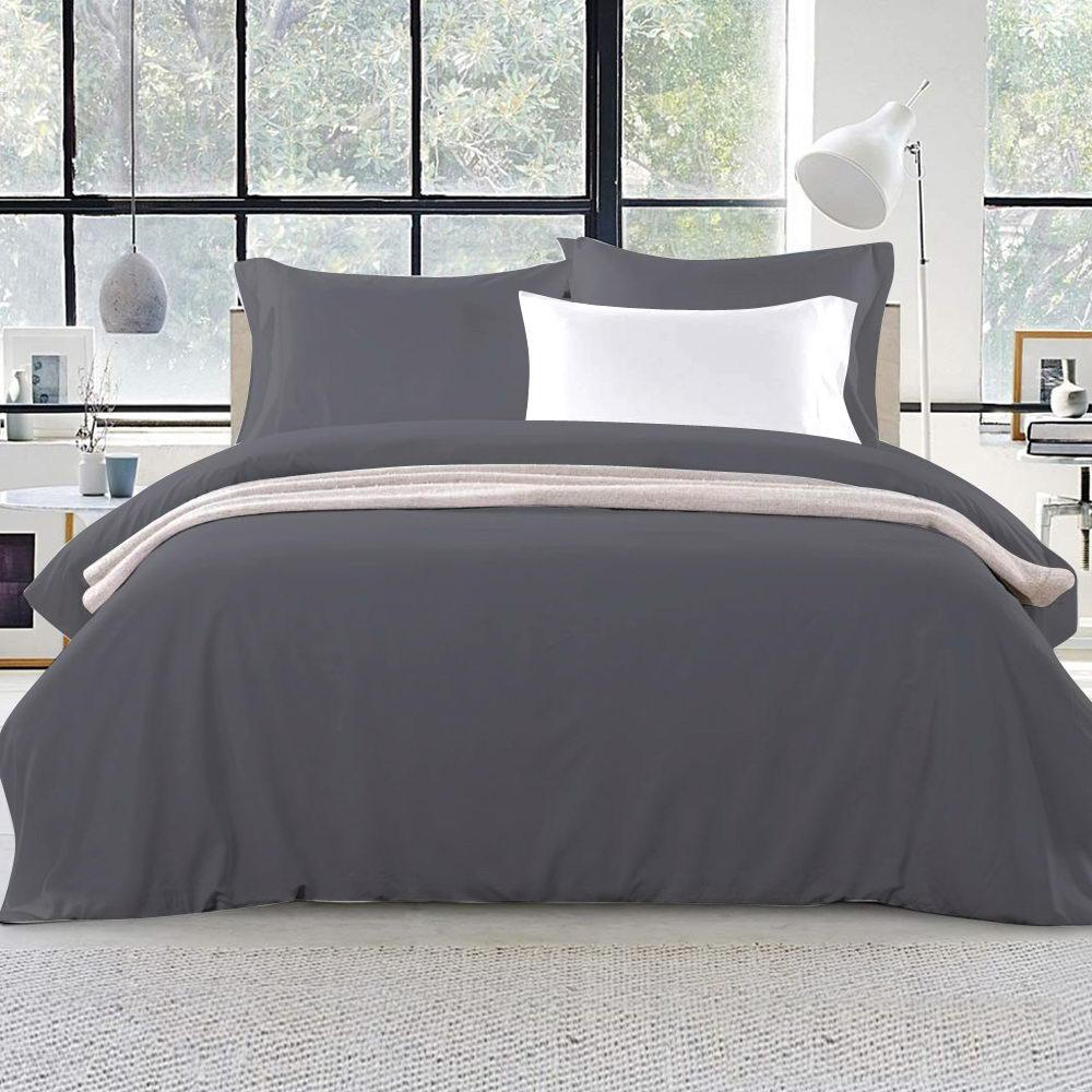 Giselle Bedding Super King Quilt Cover Set Charcoal Luxury Classic Premium Microfibre Doona Duvet Bed Sets Hotel Matt Blatt
