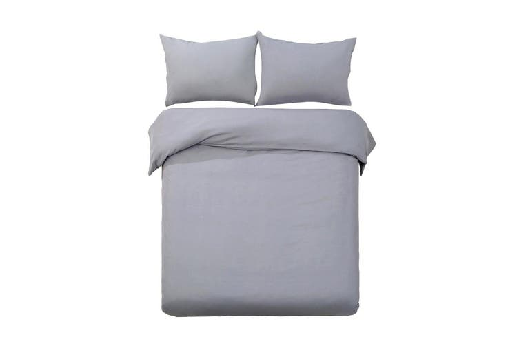 Giselle Bedding Queen Quilt Cover Set Grey Luxury Classic Premium Microfibre Doona Duvet Bed Sets Hotel
