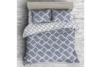 Giselle Bedding Queen Quilt Cover Set Geometry Square Pattern Reversible Sets Premium Microfibre Doona Duvet Bed Hotel