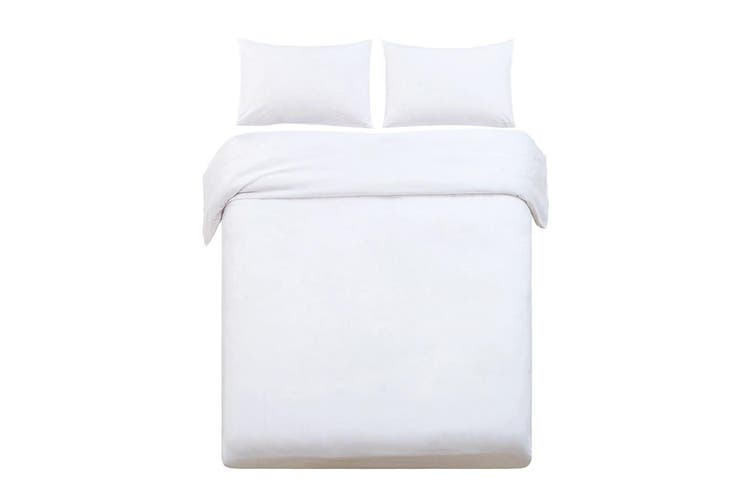 Giselle Bedding King Quilt Cover Set White Luxury Classic Premium Microfibre Doona Duvet Bed Sets Hotel