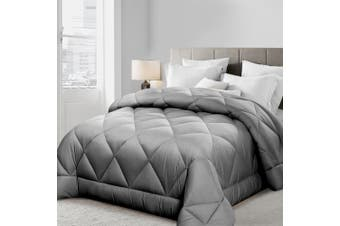 Giselle Bedding Bamboo Quilt 400GSM King Microfibre Microfiber Quilts Duvet Cover Doona All Season Grey