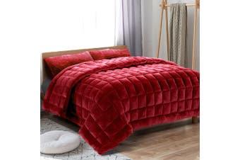 Giselle Bedding Faux Mink Quilt Comforter Fleece Throw Blanket Doona Burgundy SK