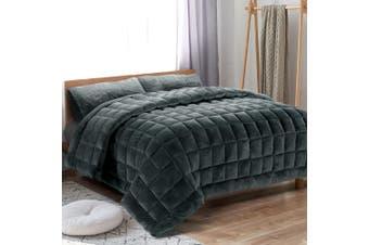Giselle Bedding Faux Mink Quilt Comforter Fleece Throw Blanket Doona Charcoal SK