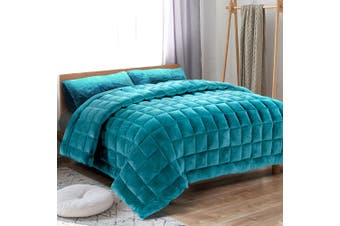 Giselle Bedding Faux Mink Quilt Comforter Fleece Bedspread Weighted Throw Blanket King