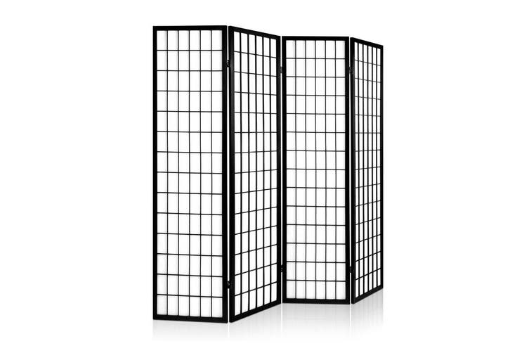 Artiss 4 Panel Room Divider Screen Solid Wood Dividers Black Fold Stand 174cm