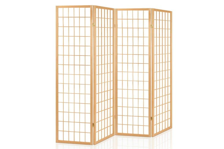 Artiss 4 Panel Room Divider Screen Solid Wood Dividers Timber Privacy Fold Stand