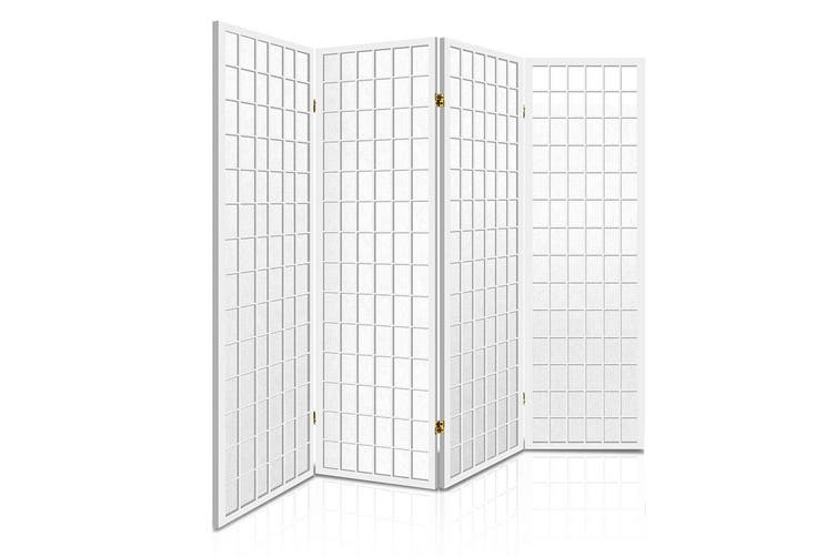 Artiss 4 Panel Room Divider Screen Wood Timber Dividers Fold Stand Wide White
