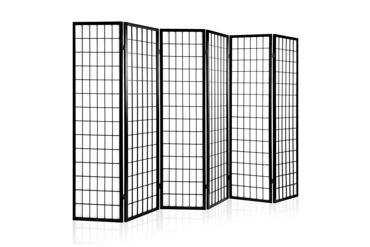 Artiss 6 Panel Room Divider Screen Dividers Timber Privacy Stand Black