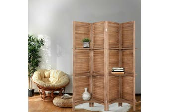 Artiss 4 Panel Room Divider Screen Privacy Dividers Shelf Wooden Timber Stand