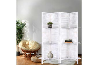 Artiss 4 Panel Room Divider Screen Privacy Foldable Dividers Timber Stand Shelf