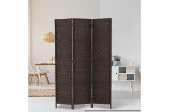 Artiss 3 Panel Room Divider Screen Privacy Rattan Dividers Stand Fold Wove Brown