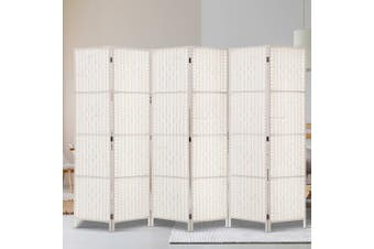 Artiss 6 Panel Room Divider Screen Privacy Rattan Timber Fold Woven Stand White