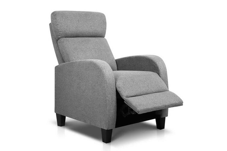 Artiss Recliner Chair Chairs Leather Lounge Sofa Armchair Couch Adjustment Grey