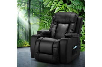 Artiss Recliner Chair Electric Massage Chairs With Heat Remote Control Heated Lounge Swivel Sofa Leather Black