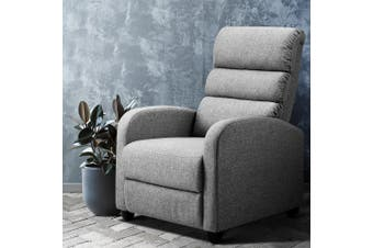 Artiss Recliner Chair Chairs Fabric Luxury Lounge Sofa Armchair Couch Adjustment Grey