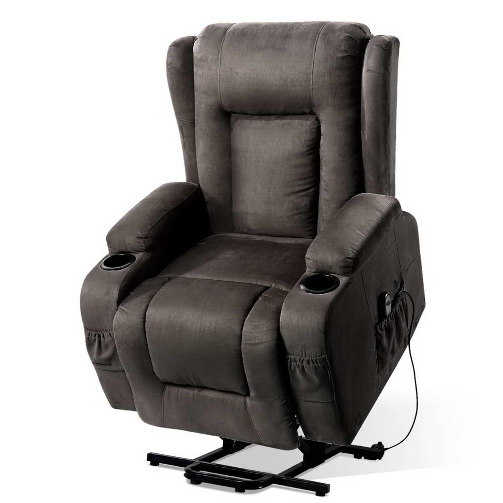 Artiss Recliner Chair Electric Massage Chairs Lift Up Position With Heat Remote Control Heated Lounge Swivel Sofa Leather Grey | Massage & Relaxation