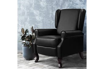 Artiss Recliner Chair Chairs Leather Lounge Sofa Foam Padded Armchair Couch Adjustment Black