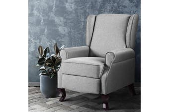 Artiss Recliner Chair Chairs Fabric Lounge Sofa Foam Padded Armchair Couch Adjustment Grey