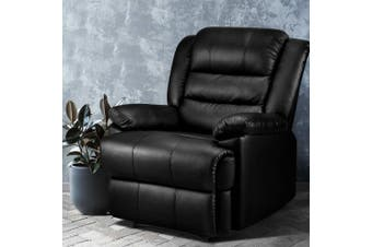 Artiss Recliner Chair Armchair Luxury Single Lounge Sofa Couch Leather Black