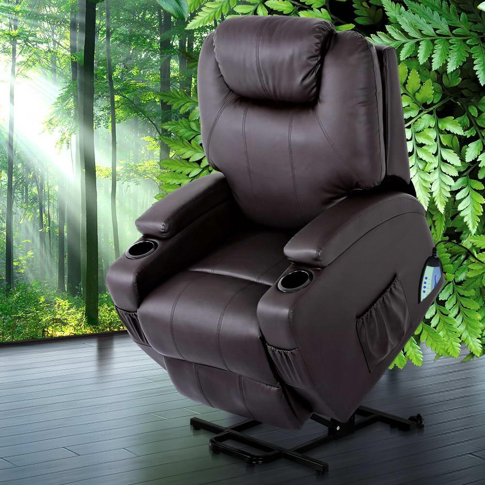 Artiss Recliner Chair Electric Massage Chairs Lift Up Position With Heat Remote Control Heated Lounge Swivel Sofa Leather Black