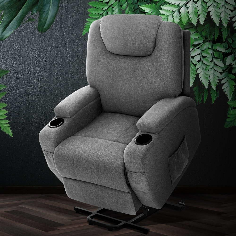 Artiss Recliner Chair Electric Massage Chairs Lift Up Position With Heat Remote Control Heated Lounge Swivel Sofa Leather Grey | Drawers & Cabinets |