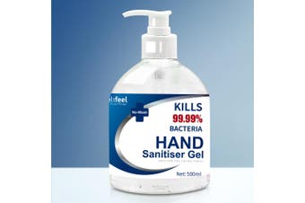 Relifeel Instant Hand Sanitiser Gel Alcohol Sanitizer Quick Dry 500ml No Wash