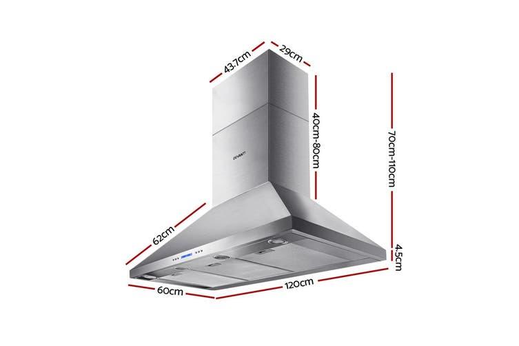 Devanti Range Hood Rangehood 1200mm Filter Included BBQ Commercial Kitchen Filters Stainless Steel Alfresco Canopy Hoods