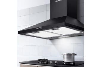 Devanti Rangehood Range Hood 600mm Filter Included Black Stainless Steel Canopy LED Light Kitchen Wall Mounted 60cm