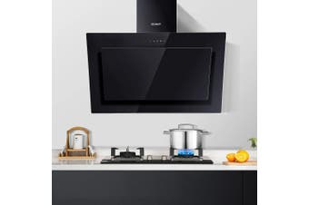 Devanti Rangehood Range Hood 900mm Angled Side Filter Included Touch Control Black Tempered Glass Canopy Kitchen Wall Mounted 90cm