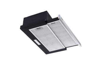 Devanti Rangehood Range Hood 600mm Slide Out  Filter Included Silver Canopy Kitchen Wall Mounted 60cm
