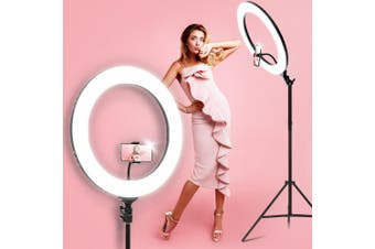 "Embellir 19"" LED Ring Light with Phone Holder 6500K 5800LM Dimmable Diva Stand MakeUp Studio Video Black"