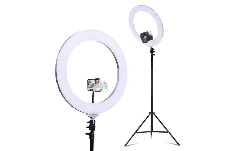 "Embellir 19"" LED Ring Light with Phone Holder 6500K 5800LM Dimmable Diva Stand MakeUp Studio Video Silver"