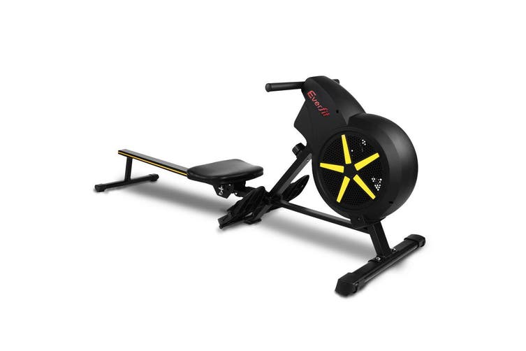 Everfit Exercise Rowing Machine Machines Foldable Home Gym Fitness 8 Level Resistance Cardio Black Air Resistance System