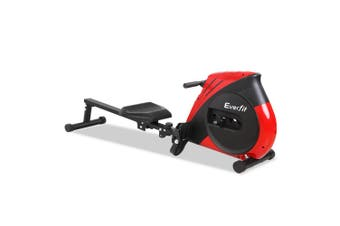 Everfit Exercise Rowing Machine Foldable Machines Home Gym Fitness 4 Level Resistance Cardio Elastic Cord Red Black