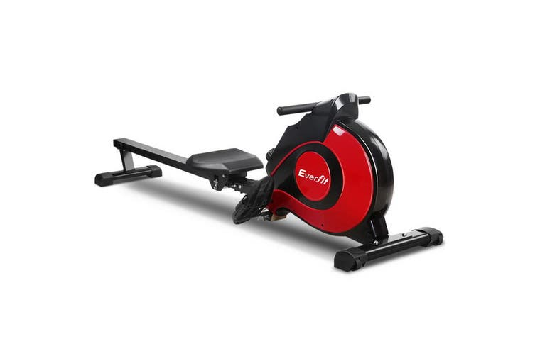 Everfit Exercise Rowing Machine Magnetic Resistance Foldable Machines Home Gym Fitness Cardio Red Black